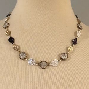 Silver and gold colored necklace